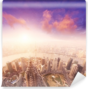 cityscape of shanghai, misty and cloudy Self-Adhesive Wall Mural