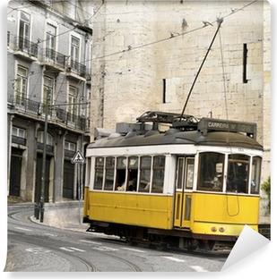 classic yellow tram of Lisbon, Portugal Self-Adhesive Wall Mural