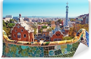 Colorful roofs of Barcelona Self-Adhesive Wall Mural