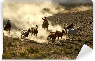 Cowgirl and Cowboy galloping and roping wild horses Self-Adhesive Wall Mural