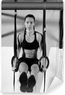 Crossfit dip ring woman workout at gym dipping Self-Adhesive Wall Mural