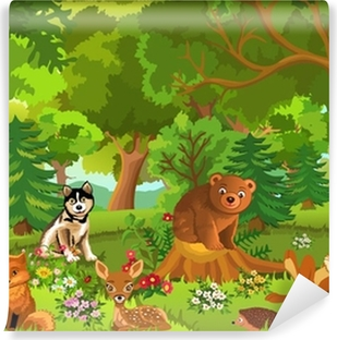 cute animals living in the forest Self-Adhesive Wall Mural