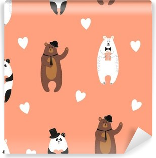 Cute bears pattern. Seamless romantic background with polar bear, brown bear and panda. Self-Adhesive Wall Mural
