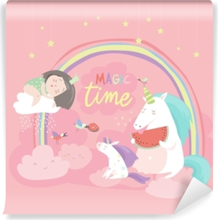 Cute cartoon girl with unicorns Self-Adhesive Wall Mural