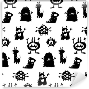 Cute monsters silhouettes pattern Self-Adhesive Wall Mural
