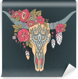 Decorative Indian bull skull with ethnic ornament Self-Adhesive Wall Mural