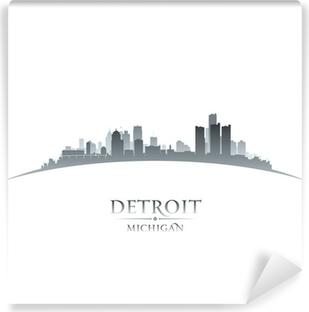 Detroit Michigan city skyline silhouette white background Self-Adhesive Wall Mural