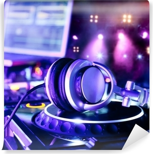 Dj mixer with headphones Self-Adhesive Wall Mural