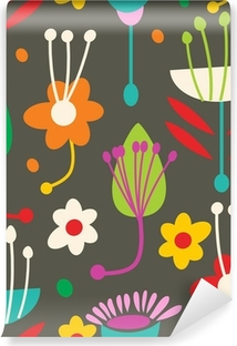 Doodle seamless floral pattern Self-Adhesive Wall Mural