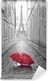 Eiffel tower view from the street of Paris Self-Adhesive Wall Mural