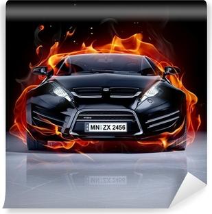 Fire car on ice. Brandless sports car. Self-Adhesive Wall Mural