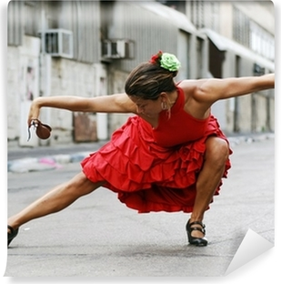 Flamenco Dancer with castanets Self-Adhesive Wall Mural
