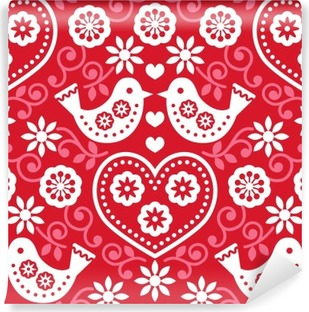 Folk art red seamless pattern with flowers and birds Self-Adhesive Wall Mural