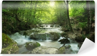 forest waterfall Self-Adhesive Wall Mural