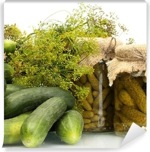 fresh cucumbers, pickles and dill isolated on white Self-Adhesive Wall Mural