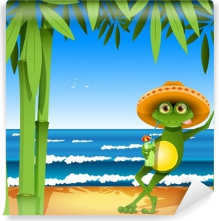 frog on the beach Self-Adhesive Wall Mural