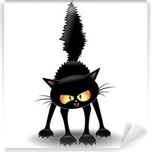 Funny Fierce Black Cat Cartoon-Gatto Buffo Feroce Self-Adhesive Wall Mural