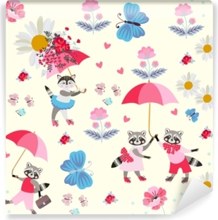 Funny little raccoons and kitty with pink umbrellas, butterflies, flowers and hearts isolated on light yellow background. Endless pattern for children. Vector spring or summer design. Self-Adhesive Wall Mural