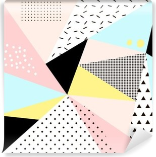Geometric memphis background.Retro design for invitation, business card, poster or banner. Self-Adhesive Wall Mural
