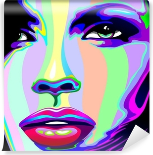 Girl's Portrait Psychedelic Rainbow-Viso Ragazza Psychedelico Self-Adhesive Wall Mural