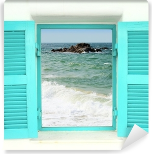 Greek style window with sea view Self-Adhesive Wall Mural