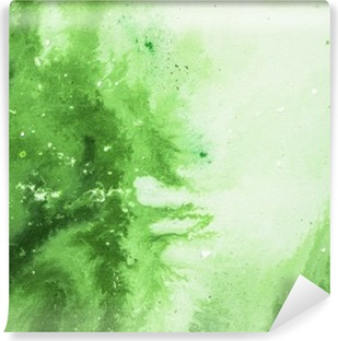 Green abstract art background, texture painting. Self-Adhesive Wall Mural