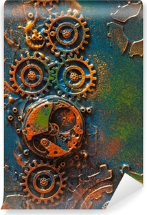 handmade steampunk background mechanical cogs wheels clockwork Self-Adhesive Wall Mural