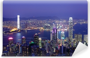 Hong Kong at night Self-Adhesive Wall Mural