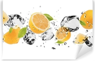Ice fruit on white background Self-Adhesive Wall Mural