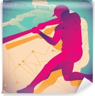 Illustrated baseball poster. Self-Adhesive Wall Mural