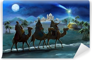 Illustration of the holy family and three kings Self-Adhesive Wall Mural
