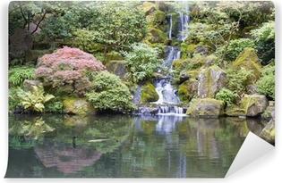 Japanese Garden Koi Pond with Waterfall Self-Adhesive Wall Mural