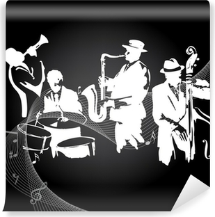 Jazz concert black background Self-Adhesive Wall Mural