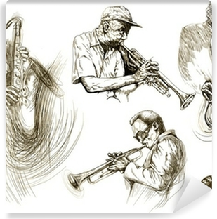 jazz men (hand drawing collection of sketches) Self-Adhesive Wall Mural