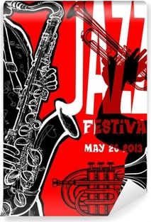 Jazz poster with saxophonist Self-Adhesive Wall Mural