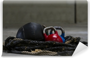 Kettle bells, rope and a medicine ball used for crossfit Self-Adhesive Wall Mural