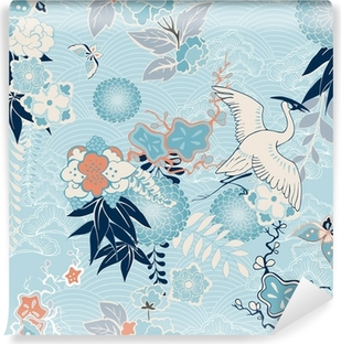 Kimono background with crane and flowers Self-Adhesive Wall Mural