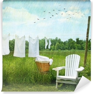Laundry drying on clothesline Self-Adhesive Wall Mural