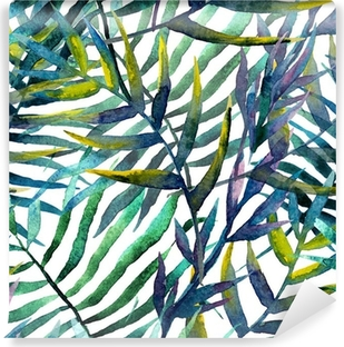 Leaves abstract pattern in watercolor Self-Adhesive Wall Mural
