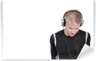 Man in headphones Self-Adhesive Wall Mural