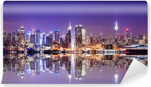 Manhattan Skyline with Reflections Self-Adhesive Wall Mural
