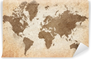 map of the world with a textured background Self-Adhesive Wall Mural