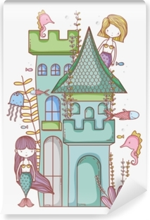 Mermaid on castle cute cartoon Self-Adhesive Wall Mural