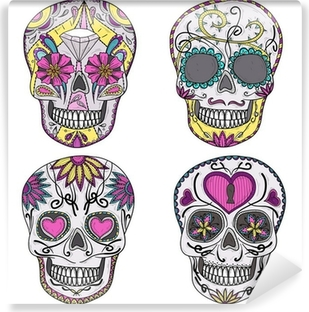 Mexican skull set. Colorful skulls with flower and heart ornamen Self-Adhesive Wall Mural