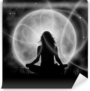 Moon meditation Self-Adhesive Wall Mural