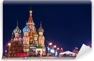 Moscow St. Basil's Cathedral Night Shot Self-Adhesive Wall Mural