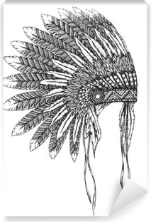Native American indian headdress with feathers in a sketch style Self-Adhesive Wall Mural