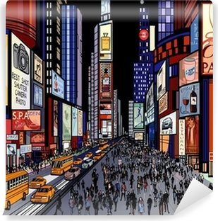 New York - night view of times square Self-Adhesive Wall Mural