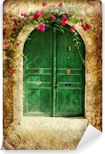 old greek doors - vintage series Self-Adhesive Wall Mural