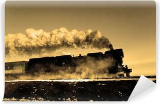 Old retro steam train Self-Adhesive Wall Mural